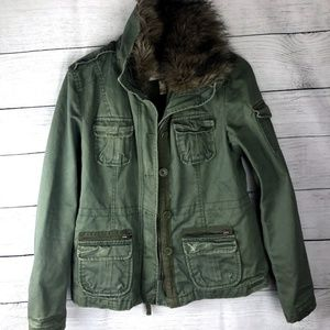 American Eagle | Green Utility Jacket - Fur Collar